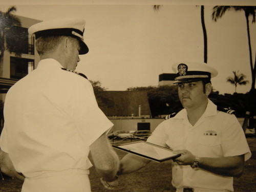 CAPT Rich Talipsky, USN (Ret) (Then LTJG) Receives commendation from CAPT Robert Chewning for service during USS Sargo (SSN583) Western Pacific deployment. (Circa 1972)